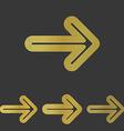 Golden line arrow logo design set vector image vector image