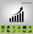 growing graph sign black icon at gray vector image vector image