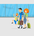 happy parents and their son travelling together vector image