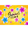 its summer time with flower on sun vector image vector image