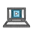 laptop computer movie play device technology vector image vector image