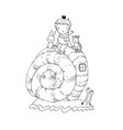 little prince kitten and bunny ride a snail vector image