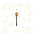 magic wand and gold dust set vector image vector image