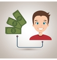 man with dollars isolated icon design vector image