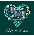 Medical care medicine heart shape poster vector image vector image