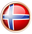 norway flag on round button vector image vector image
