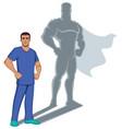 nurse superhero shadow vector image