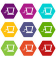old grape juicer icon set color hexahedron vector image vector image