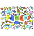 outlined doodle set in bright color vector image