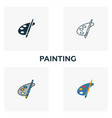 painting icon set four elements in diferent vector image vector image