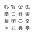 product packing line icons box warehousing vector image vector image