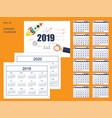 set business american calendar for desk 2019 2020 vector image