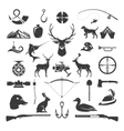 Set of Hunting and Fishing Objects Design vector image