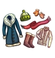 Set of warm winter clothes and accessories