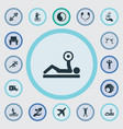 set simple health icons vector image vector image