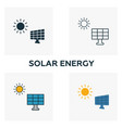 solar energy icon set four elements in different vector image vector image