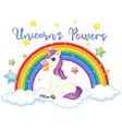 unicorn power sign on white background vector image vector image