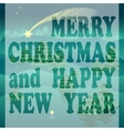 Merry Christmas greeting card with stars and trees vector image