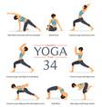 8 yoga poses or asana posture in flat design