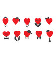a set of hearts of men and women vector image
