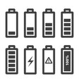 battery icons set icons outline isolated vector image