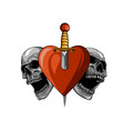 beautiful romantic skulls with sword and elegant vector image vector image