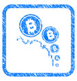 bitcoin deflation chart framed stamp vector image vector image