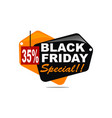 black friday special discount 35 percent vector image vector image