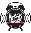 Black friday special offer alarm clock black icon vector image vector image