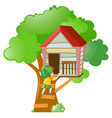 boy going inside the treehouse vector image vector image