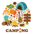 camping elements and girl vector image vector image