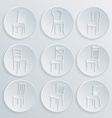 Chair icon set symbol furniture vector image