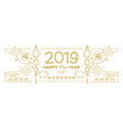 chinese new year pig 2019 gold line web banner vector image vector image