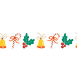 christmas border hand drawn seamless repeating vector image vector image