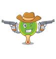 cowboy ping pong racket character cartoon vector image vector image