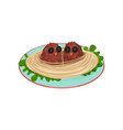 creative spaghetti garnished with cutlets in the vector image