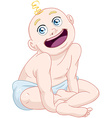 Cute Baby Boy Sitting With Diaper vector image vector image