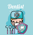 dentist boy tooth protection instrument care vector image vector image