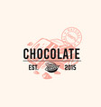 emblem pieces chocolate with text vector image vector image