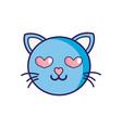enamored cat head cute animal vector image vector image