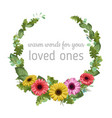 floral watercolor template wreath frame gerbera vector image vector image