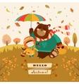 girl and bear walking under an umbrella