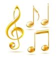Gold icons of a Treble clef and music notes vector image
