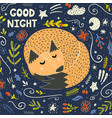 good night card with a cute sleeping fox vector image vector image
