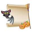 halloween scroll with space vector image vector image