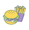 hamburger with fries french icon vector image