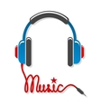 Headphones with cord and word music vector image vector image