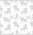 horses unicors gray silhouettes seamless vector image vector image