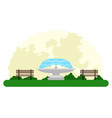 landscape of an outdoor park with a fountain vector image