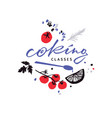 logotype for cooking classes with food vector image